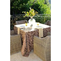 Miranda Damask Burgundy and Gold with Flowers Outdoors