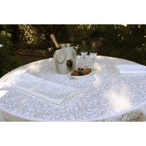 """60"""" x 84"""" Oval Somerset Damask Tablecloth"""