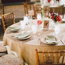"108"" Round Jute Burlap Tablecloth"