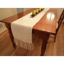 burlap table runner fringed
