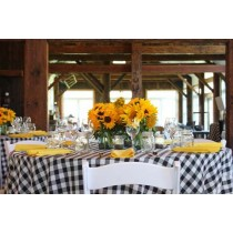 Poly Check Tablecloth 114 Round