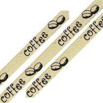 Cotton ribbon coffee bean print 3/8 inch wide