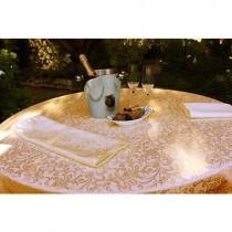 Somerset Damask Ivory Overlay Tablecloth