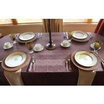 """60""""x94"""" Oval Kenya Damask Tablecloth"""
