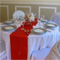 red majestic dupioni table runner