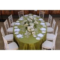 "108"" x 132"" Oval Majestic Dupioni Tablecloth"