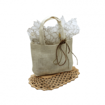 Burlap Mini Tote White 5 x 7 x 2