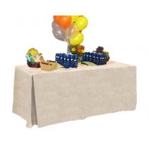Natural Burlap Fitted Tablecloth-Pleated 24W x 72L x 29H
