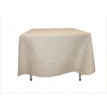Natural Burlap Tablecloth White 90 x 90