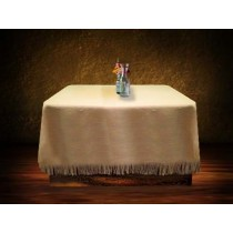 Natural Burlap Tablecloth 90 x 90 with Fringe
