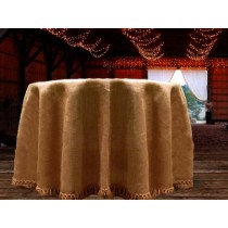 Natural Burlap 114 round Tablecloth with Fringe