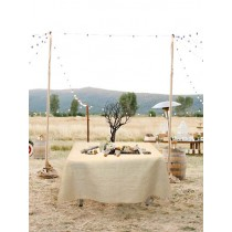 Natural Burlap Tablecloth 120 x 120 White