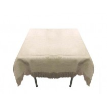 Natural Burlap Tablecloth White with Fringe 60 x 60