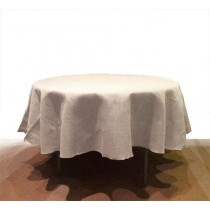 White Burlap tablecloth 84 Round