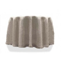 Natural Burlap Tablecloth 114 Round White with Fringe