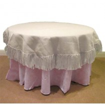 Natural Burlap White 60 Round Table Cover Fringed