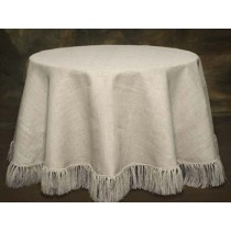 Cream White Burlap Tablecloth 90 Round Fringed