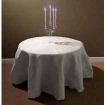 Natural Burlap White Tablecloth 132 Round