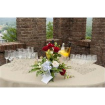 Natural Burlap Tablecloth 60 Round White