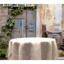 96 Round White Burlap Tablecloth