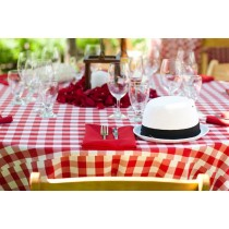 Rectangle Checkered Red Tablecloth