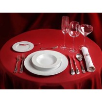 Red Polyester round tablecloth set for dinner