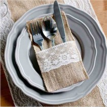 burlap and lace utensile pouch
