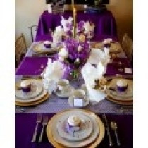 gracious purple with white overlay very elegant for party or reception