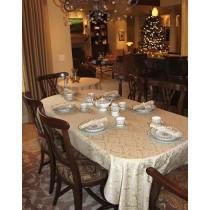 "70"" x 144"" Oval Saxony Damask Tablecloth"