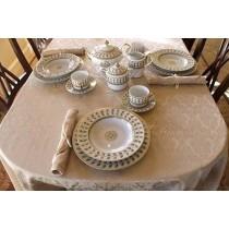 "60"" x 170"" Oval Saxony Damask Tablecloth"