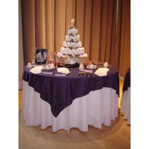 Somerset Damask White Tablecloth with Plum Overlay