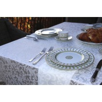 Somerset Damask White Tablecloth Setting
