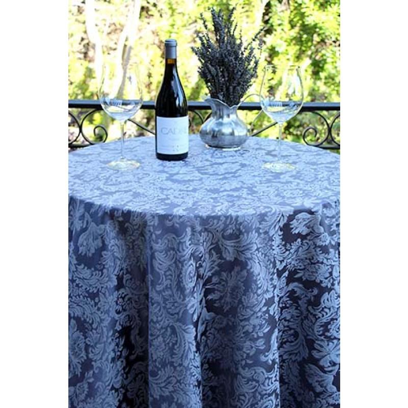 Miranda Damask Slate Blue with Flowers & Wine