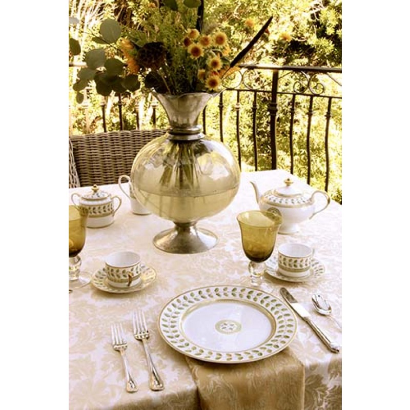 Miranda Damask Champagne with Gold Flower Vase