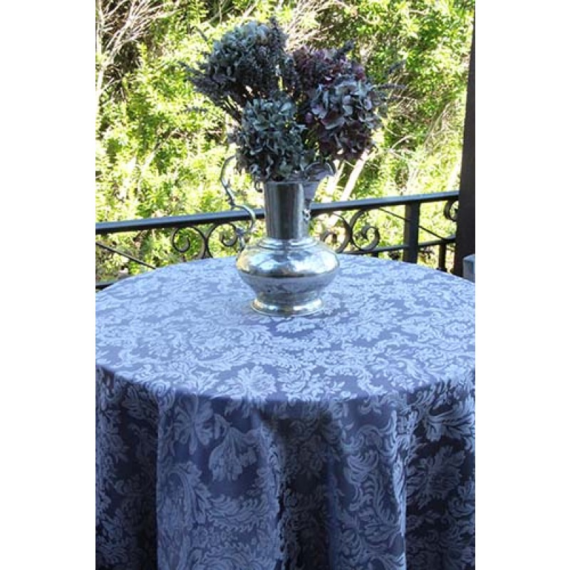 Blue Damask Cloth with flowers
