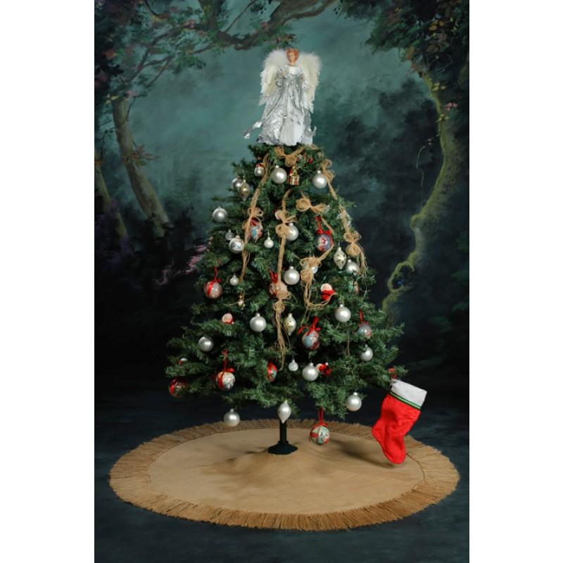 Fringed burlap Christmas-tree skirt 54 inches