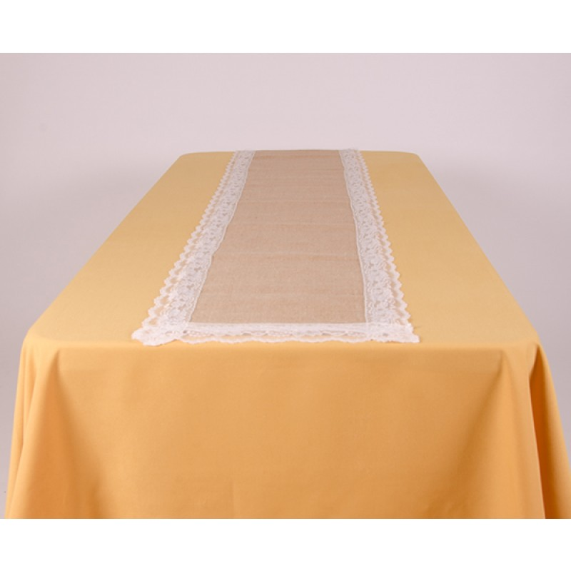 White Burlap with Lace Table runner display