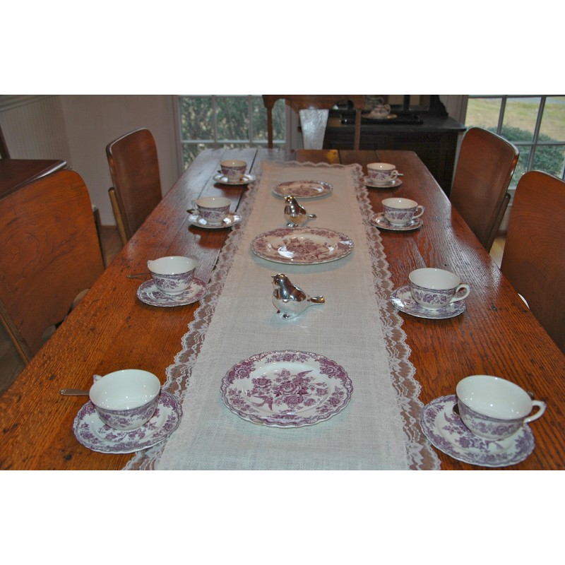 Burlap and Lace Table Runner Display
