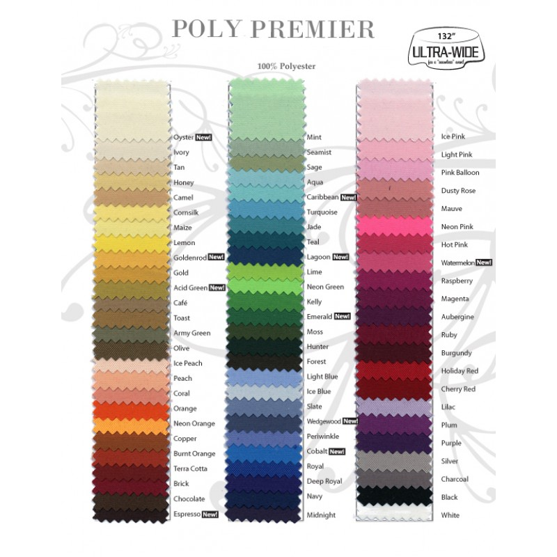 polyester table runner color card