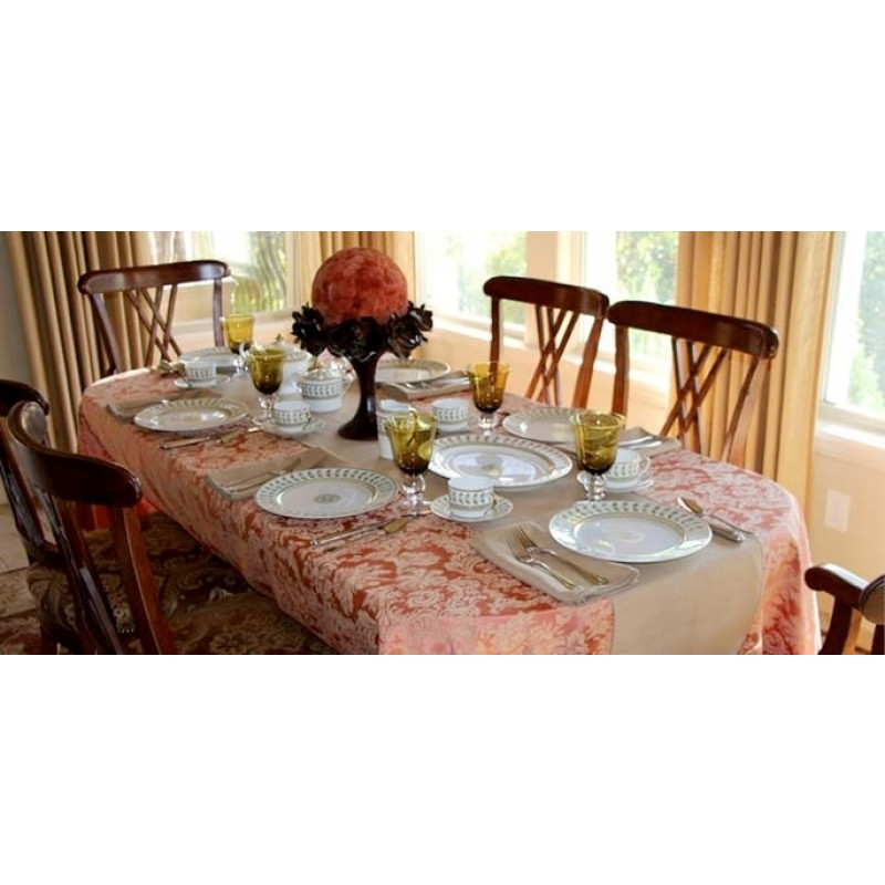 two tone damask linens