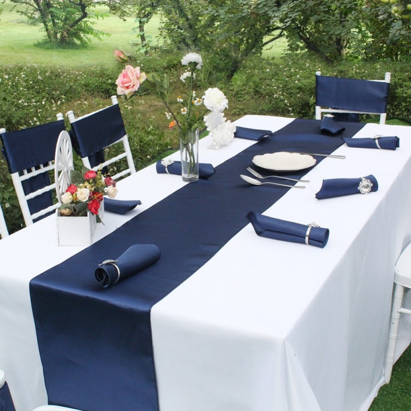 Satin Navy Table Runner