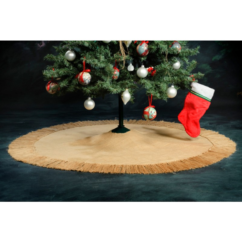 Burlap-fringed-tree-skirt 60 inches