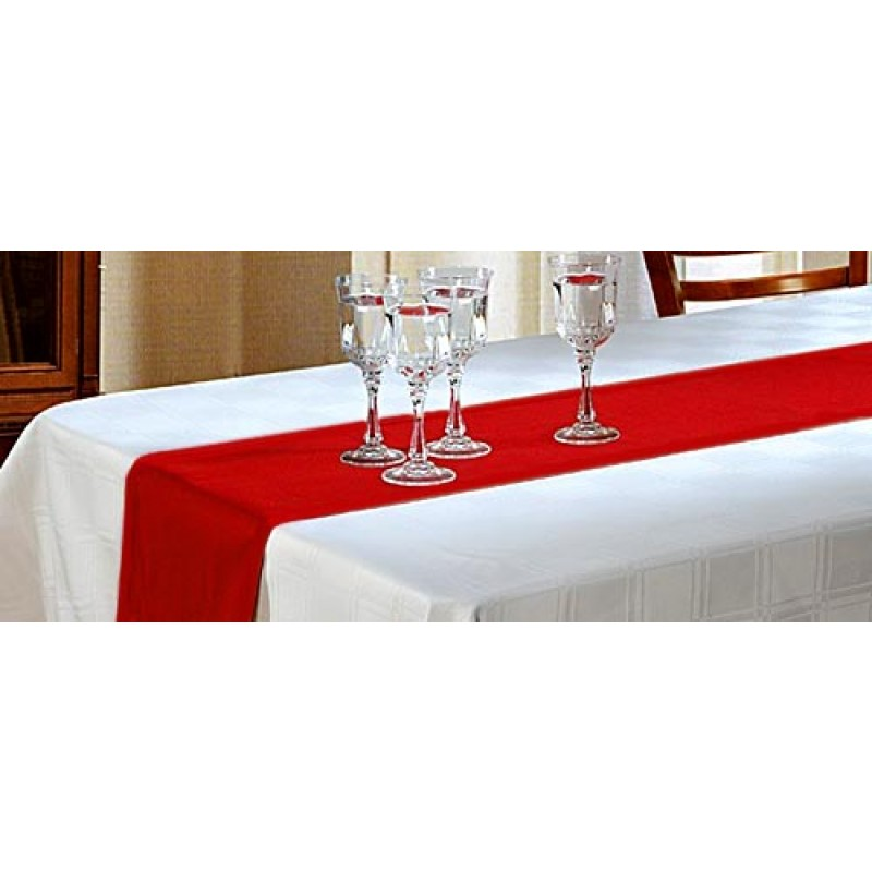 Havana Faux Burlap Red Table Runner