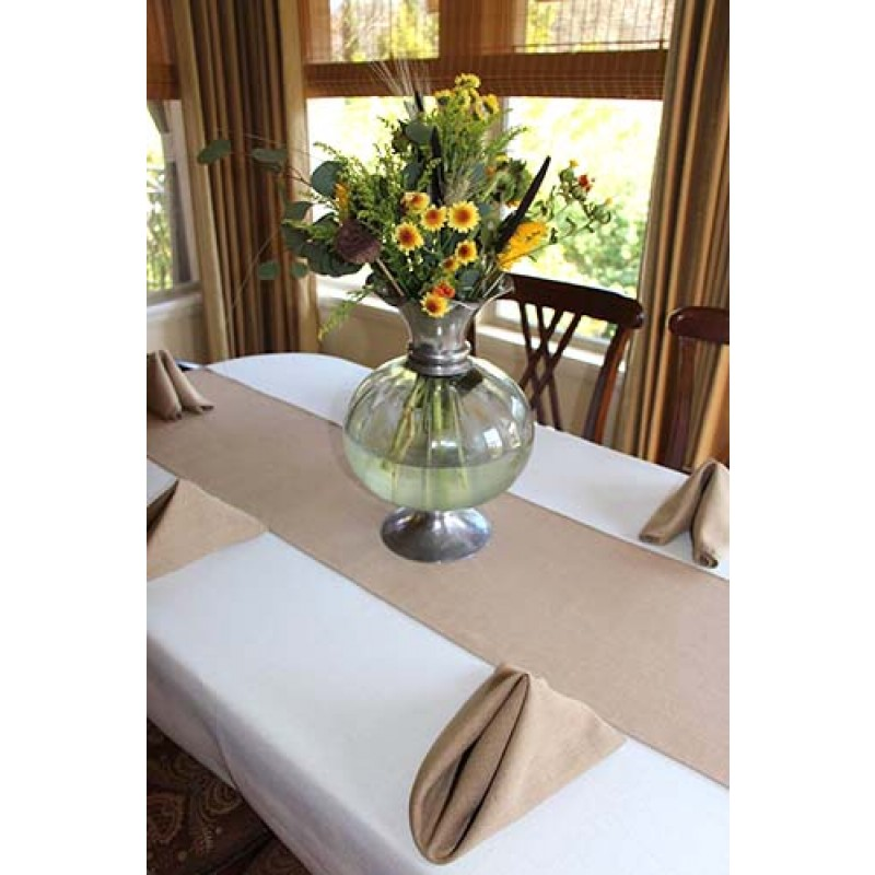 Tan Table Runner on dining table