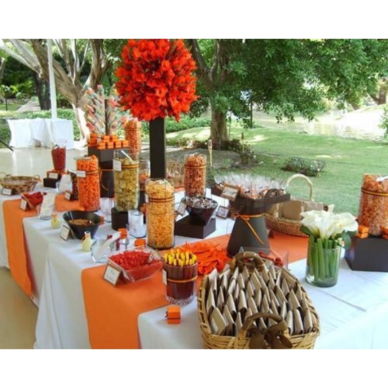 havana orange table runner reception