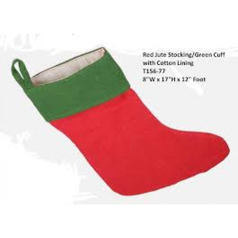 Red Jute Burlap Stocking with Green Cuff