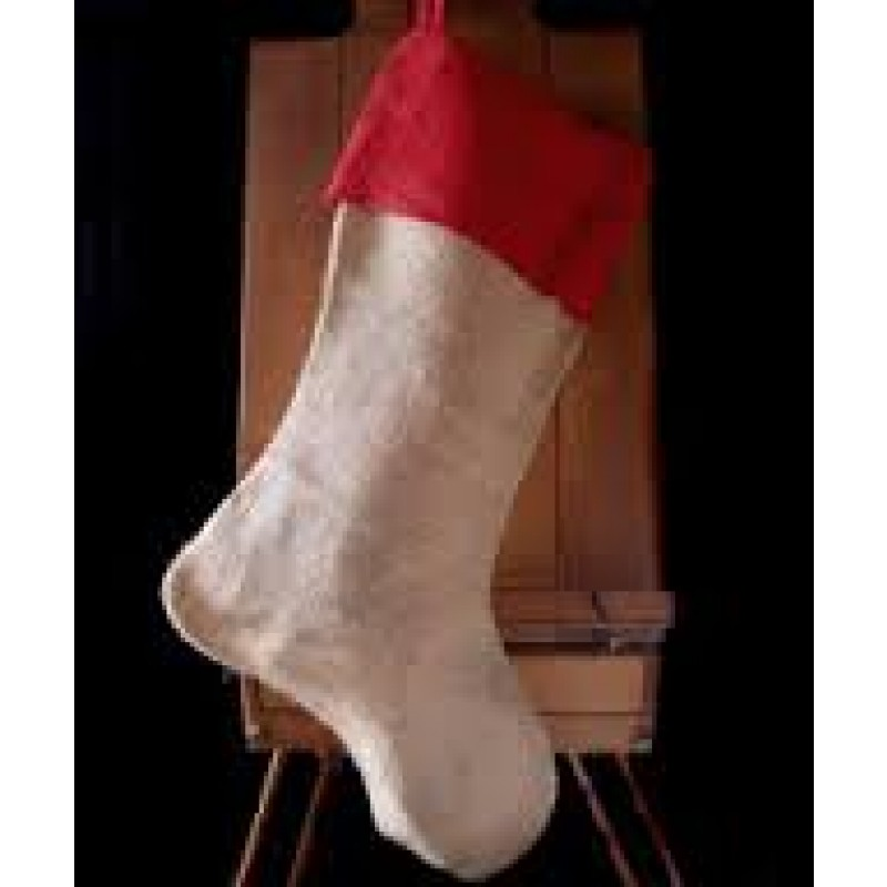 Red Jute Burlap Stocking with Red Cuff