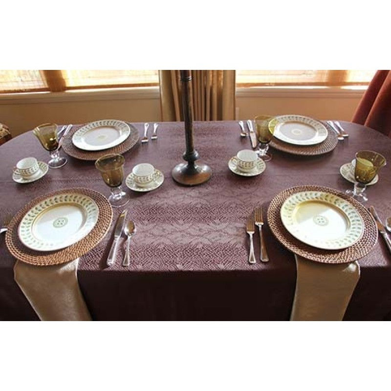 "60""x94"" Oval Kenya Damask Tablecloth"