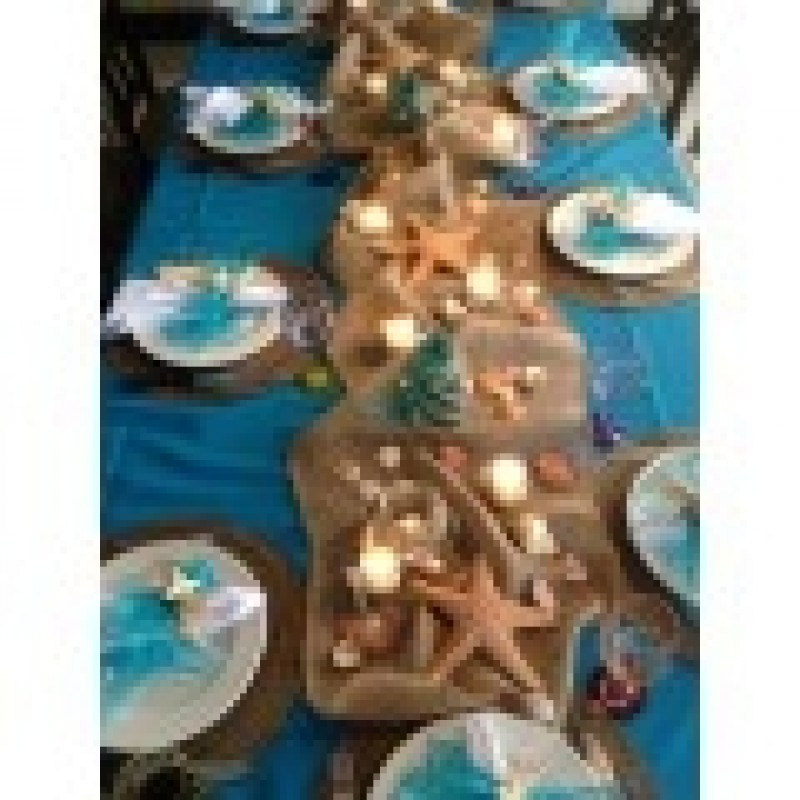 ... Turquoise Tablecloth With Burlap Table Runner And Beach Decor ...