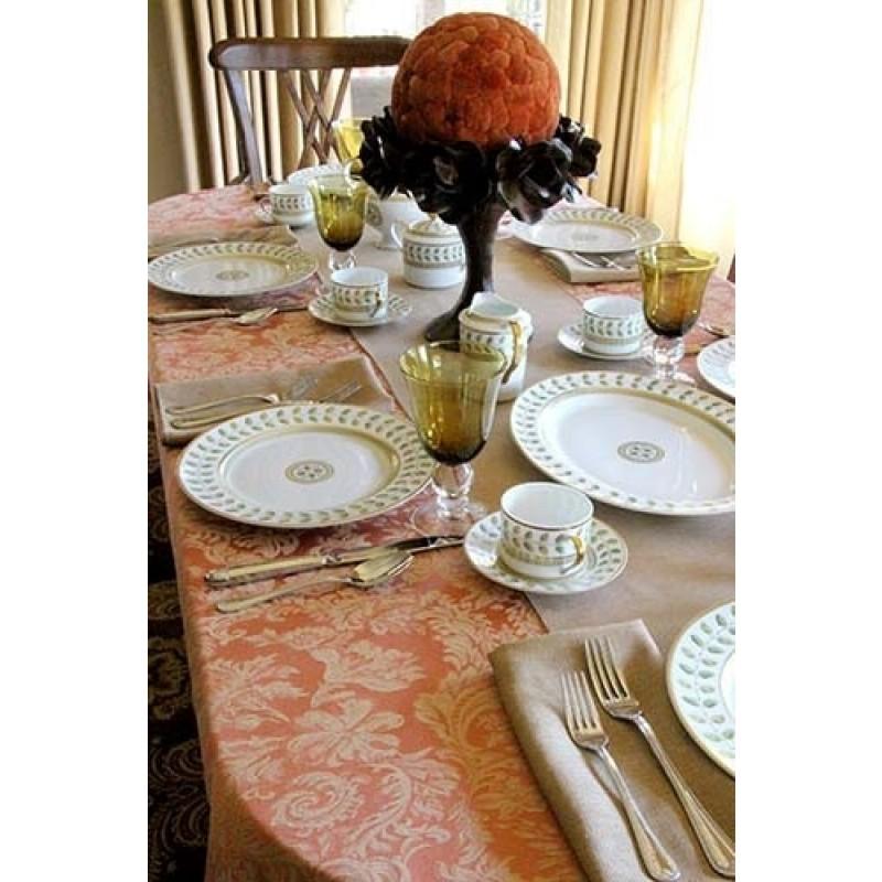 90x132 Oval Miranda Damask Tablecloth